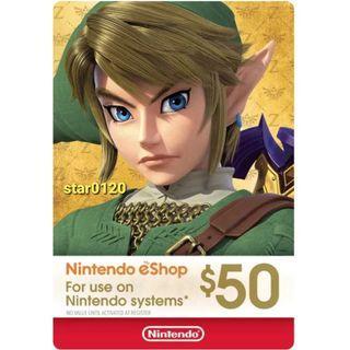 [過千好評]美國 Nintendo Switch eShop Cards 任天堂 預付卡 50 USD 美服