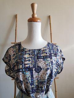 二手 vintage 古著 復古民族風黃藍阿拉伯宮廷印花連袖上衣