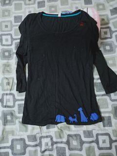 A la sha黑色t shirt七分袖