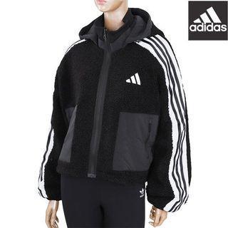 Adidas毛絨絨泰迪休閒運動大衣外套