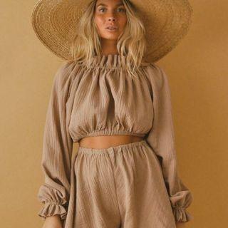 Boheme Goods The Romance Blouse Off-Shoulder Crop Top (Canadian Slow Fashion)