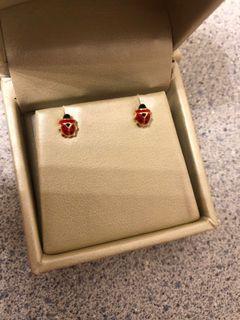 Brand New Kids 18kt Gold Ladybug Earrings