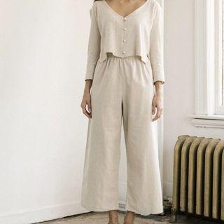 Harly Jae Aura Pants Natural Linen High Waisted Wide Leg Pants (Canadian Slow Fashion)