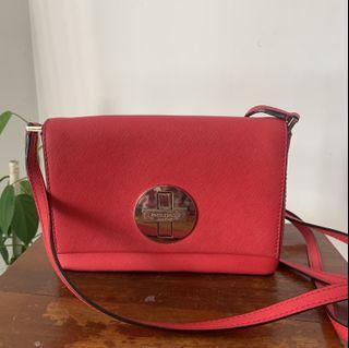 Kate Spade - red crossbody bag long strap