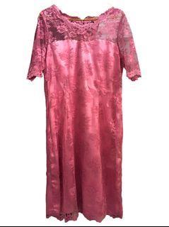 Mididress / Dress Brukat Lace  Big size Jumbo / Dress Pink