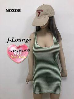N0305 全新A&F輕熟RUEHL No.925綠白細橫條紋背心洋裝 t-shirt dress J-Lounge