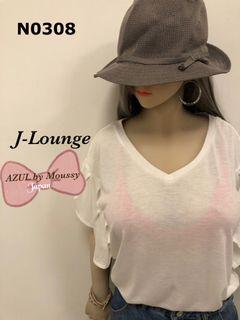 N0308 全新日本潮牌AZUL by moussy 款鬆款荷葉袖造型白踢恤上衣 tee J-Lounge