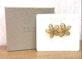 Pazzo韓國金屬花朵造型耳環