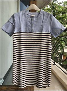 Petite Cupcakes Dress Combination Blue and Stripes