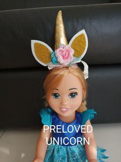 Preloved headband unicorn dress boneka unicorn doll bukan Zara kids h&mnkids gingersnaps carters zaxy Nina mini melissa