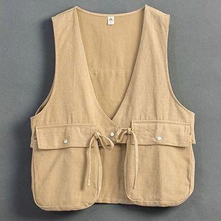 QUEENSHOP_ 口袋綁帶造型背心