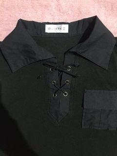 Ribbed Tshirt Black/ Kaos Berkerah