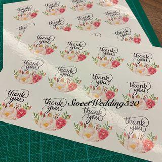 Thank you 貼紙 花朵 回禮小禮物 裝飾 喜帖 小禮物 封口貼 wedding sticker 結婚 婚宴 婚禮 烘焙貼紙