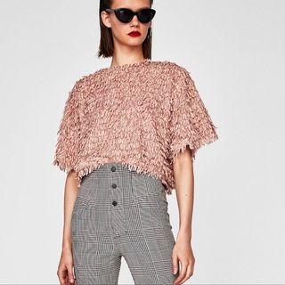 Zara Velvet-ish Fringe Semi Cropped Blouse