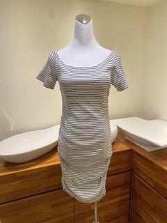 100%韓國高單JS品牌條紋棉質連身包臀洋