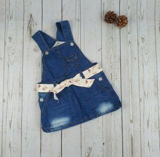 (全新)女童可愛牛仔吊帶裙-110cm