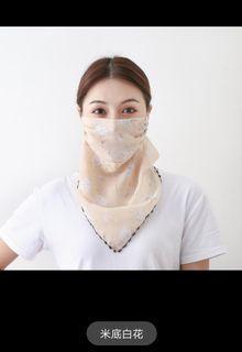 防曬面紗護臉遮臉面具小圍巾巾女百搭掛耳頸巾護頸巾薄款