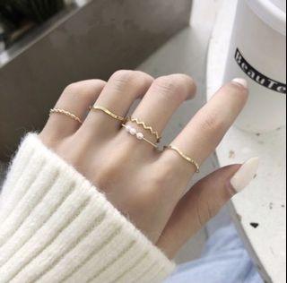 全新現貨|戒指五件式 金色