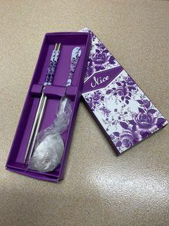 全新 紫花花👾筷子湯匙🌸🌸🌸