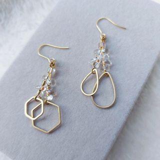 韋薇牌手作飾品- | 黃銅 玻璃珠 | 有你有我 黃銅耳環