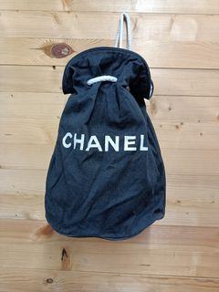 Chanel Black Canvas Bucket Bag Backpack