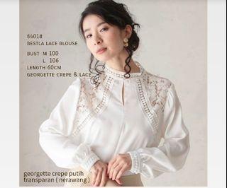 ec Bestla lace blouse l atasan fashion baju blouse putih wanita
