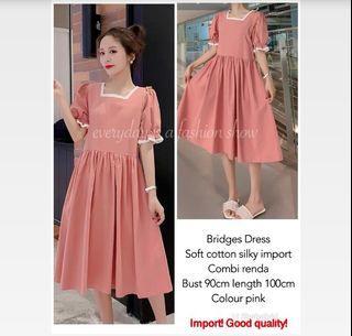 ec Bridges dress import pink l atasan fashion baju dress wanita