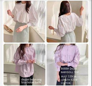 ec Dione babydoll top l atasan fashion baju blouse lilac wanita