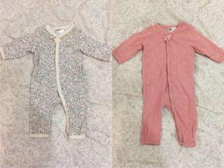 H&M嬰幼童長袖連身包屁衣 1-2m