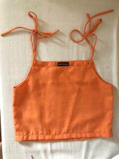 Orange linen blend top