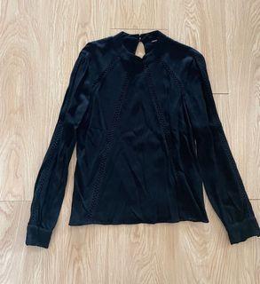 Warehouse black long sleeve top