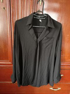 二手衣 黑色雪紡長袖上衣