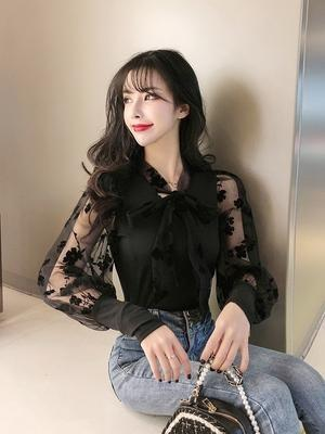 AFFNIQCHIC Cabby,Fashion Korean Style Women'Long Sleeve Lace Blouse
