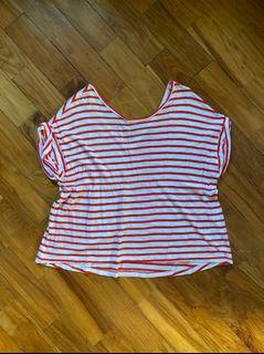 banana republic red and white striped basic tee/ crop top