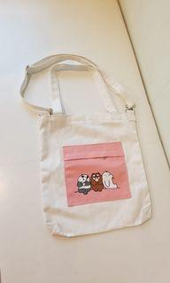 Bare Bears Bag Canvas Tote Sling Pouch Art