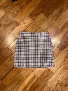 brown and cream plaid mini skirt
