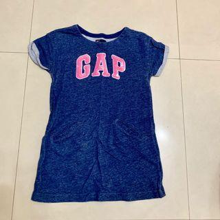 [二手]GAP Kids 女大童LOGO單寧洋裝 M(8/130CM) 牛仔布洋裝 長版上衣 女孩童袖亮片LOGO洋裝
