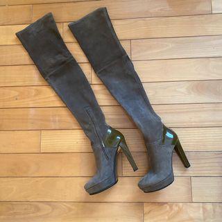 全新Gucci過膝麂皮馬靴(23-25cm/義製)