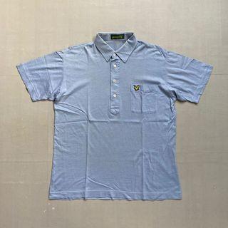 Kaos tshirt polo pocket lyle & scott blue size M murah bagus