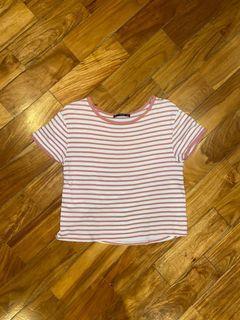 MANGO basics coral orange and white striped semi cropped tee