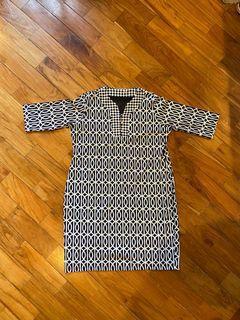 navy blue and white slight v buttoned dress