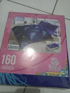 Seprai Hawaii warna biru 160*200 (queen)