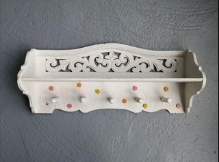 Wooden Shelf W/ Peg Hooks