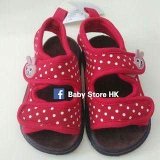 🌟快閃優惠🌟  (14cm) 西松屋 女小朋友嬰兒BB 鞋寬度可調節 柔軟透氣防刮腳涼鞋學行鞋 沙灘鞋 出口日本  baby girl shoes