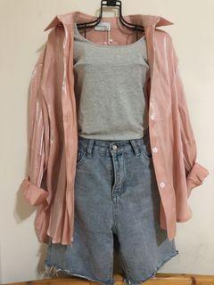 全新粉紅色襯衫