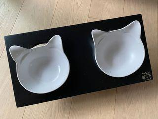 貓耳陶瓷碗 貓碗 貓碗架