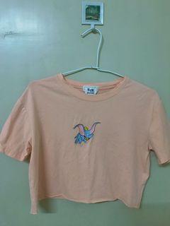小飛象粉橘色短版上衣