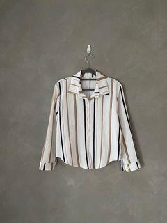 條紋 襯衫 奶茶 氣質 襯衫