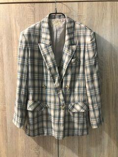 日本品牌 Every time 春夏 嫘縈亞麻 古著 格紋雙排扣休閒西裝外套 女 vintage vogue 復古時尚
