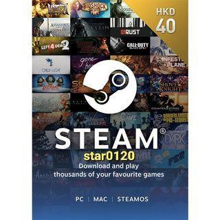 [好評過千]香港 Steam Wallet HKD 40 港元 STEAM 錢包 預付卡  Steam卡